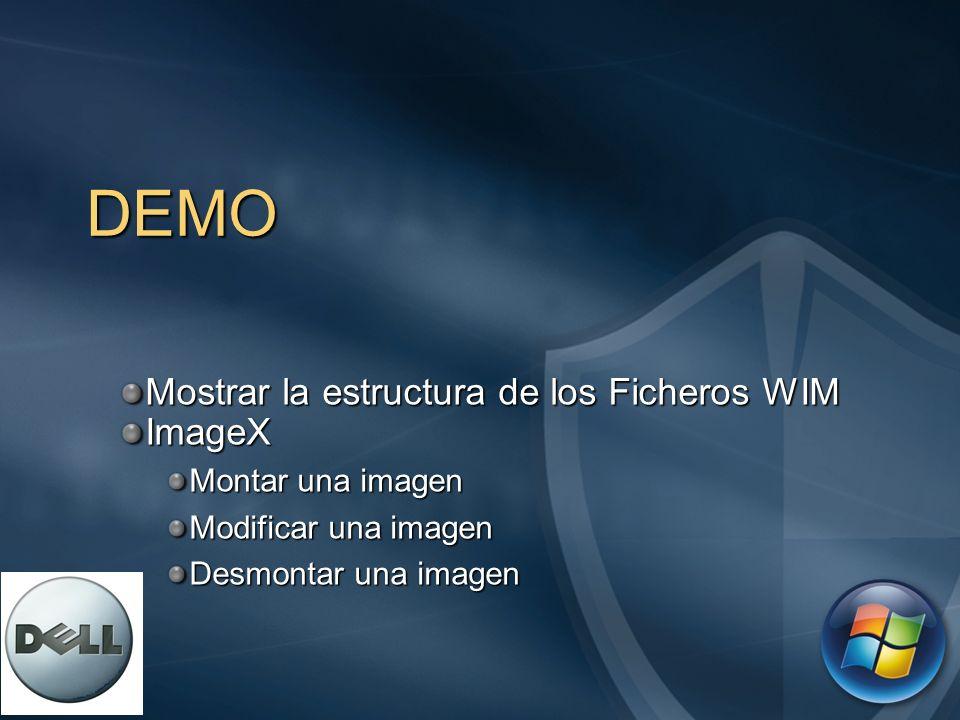 DEMO Mostrar la estructura de los Ficheros WIM ImageX Montar una imagen Modificar una imagen Desmontar una imagen