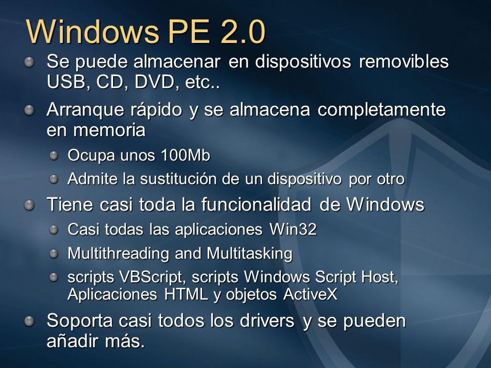 Windows PE 2.0 Se puede almacenar en dispositivos removibles USB, CD, DVD, etc.. Arranque rápido y se almacena completamente en memoria Ocupa unos 100