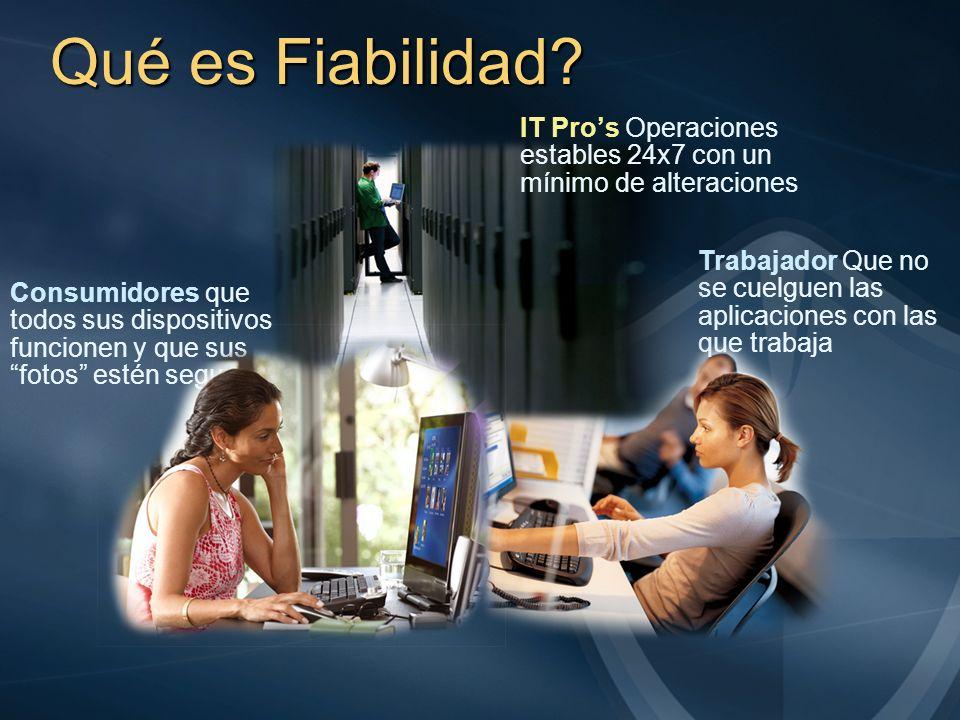Qué es Fiabilidad? Trabajador Que no se cuelguen las aplicaciones con las que trabaja IT Pros Operaciones estables 24x7 con un mínimo de alteraciones