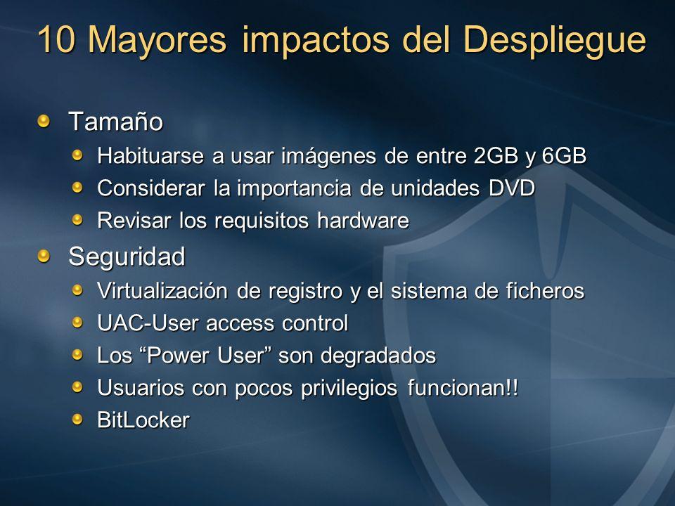 10 Mayores impactos del Despliegue Tamaño Habituarse a usar imágenes de entre 2GB y 6GB Considerar la importancia de unidades DVD Revisar los requisit