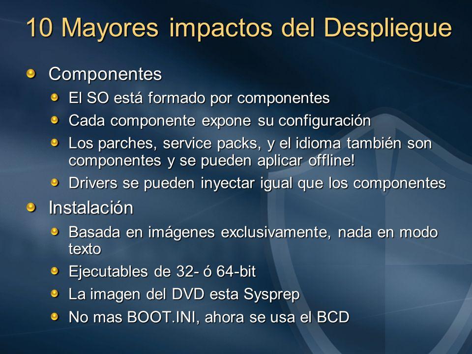 10 Mayores impactos del Despliegue Componentes El SO está formado por componentes Cada componente expone su configuración Los parches, service packs,
