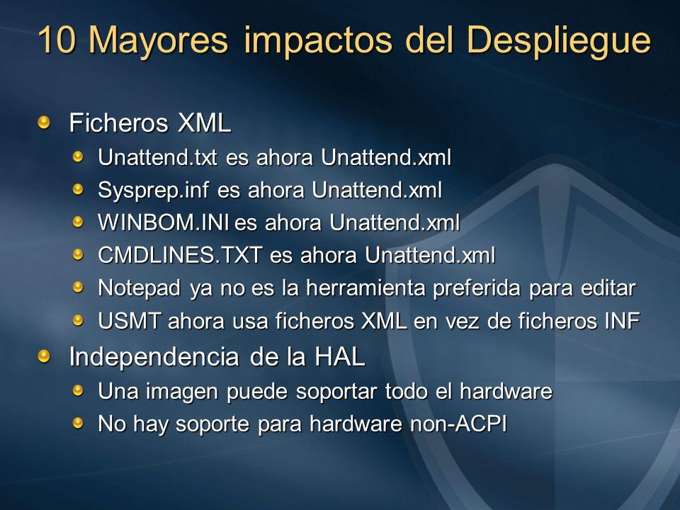 10 Mayores impactos del Despliegue Ficheros XML Unattend.txt es ahora Unattend.xml Sysprep.inf es ahora Unattend.xml WINBOM.INI es ahora Unattend.xml