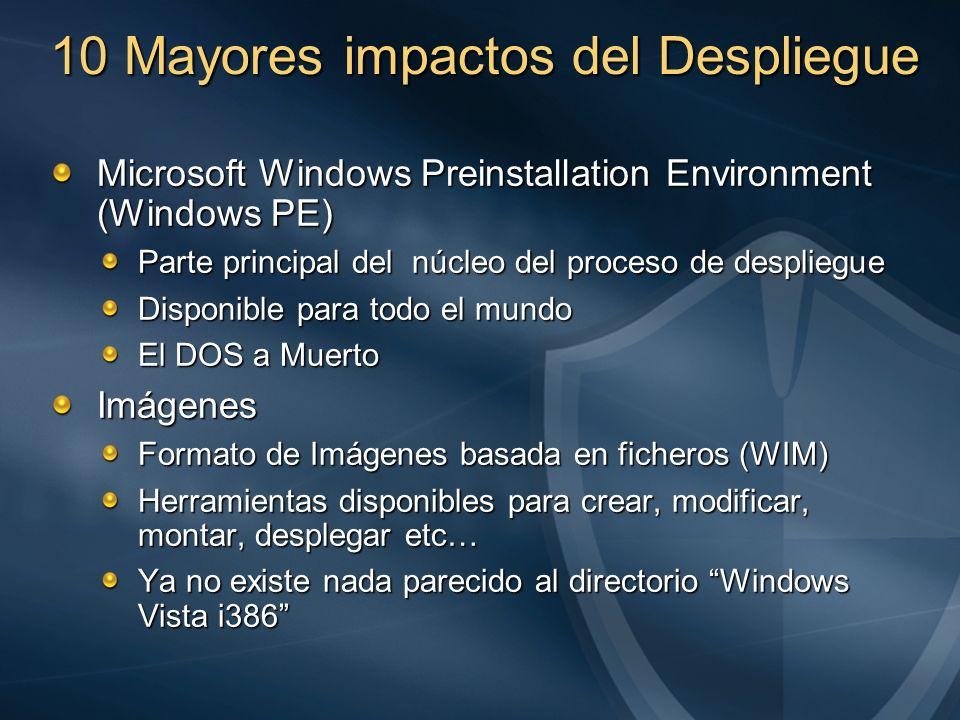 10 Mayores impactos del Despliegue Microsoft Windows Preinstallation Environment (Windows PE) Parte principal del núcleo del proceso de despliegue Dis