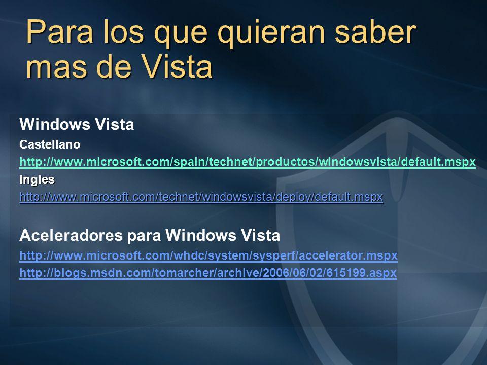 Para los que quieran saber mas de Vista Windows Vista Castellano http://www.microsoft.com/spain/technet/productos/windowsvista/default.mspxIngles http