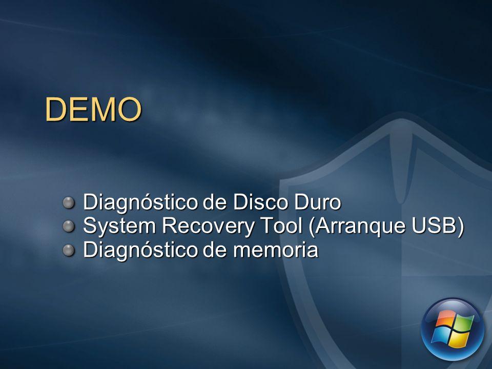 DEMO Diagnóstico de Disco Duro Diagnóstico de Disco Duro System Recovery Tool (Arranque USB) System Recovery Tool (Arranque USB) Diagnóstico de memori