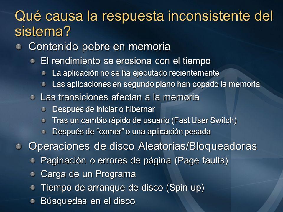 Qué causa la respuesta inconsistente del sistema? Contenido pobre en memoria El rendimiento se erosiona con el tiempo La aplicación no se ha ejecutado