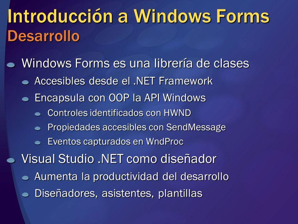 Introducción a Windows Forms Desarrollo Windows Forms es una librería de clases Accesibles desde el.NET Framework Encapsula con OOP la API Windows Con