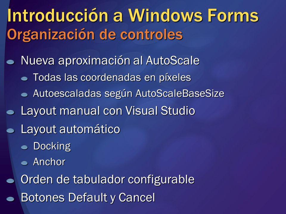 Introducción a Windows Forms Organización de controles Nueva aproximación al AutoScale Todas las coordenadas en píxeles Autoescaladas según AutoScaleB