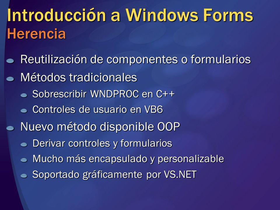 Introducción a Windows Forms Herencia Reutilización de componentes o formularios Métodos tradicionales Sobrescribir WNDPROC en C++ Controles de usuari
