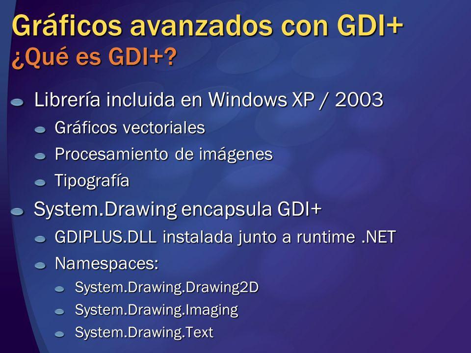 Gráficos avanzados con GDI+ ¿Qué es GDI+? Librería incluida en Windows XP / 2003 Gráficos vectoriales Procesamiento de imágenes Tipografía System.Draw