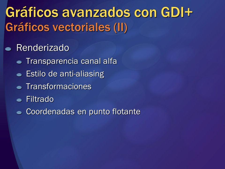 Gráficos avanzados con GDI+ Gráficos vectoriales (II) Renderizado Transparencia canal alfa Estilo de anti-aliasing TransformacionesFiltrado Coordenada