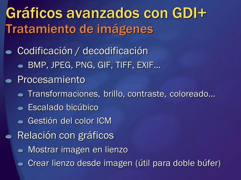 Gráficos avanzados con GDI+ Tratamiento de imágenes Codificación / decodificación BMP, JPEG, PNG, GIF, TIFF, EXIF… Procesamiento Transformaciones, bri
