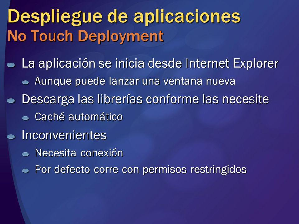 Despliegue de aplicaciones No Touch Deployment La aplicación se inicia desde Internet Explorer Aunque puede lanzar una ventana nueva Descarga las libr