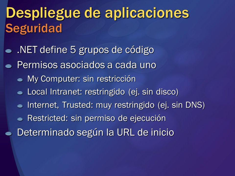 Despliegue de aplicaciones Seguridad.NET define 5 grupos de código Permisos asociados a cada uno My Computer: sin restricción Local Intranet: restring