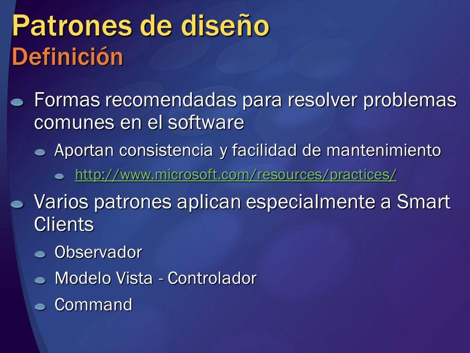 Patrones de diseño Definición Formas recomendadas para resolver problemas comunes en el software Aportan consistencia y facilidad de mantenimiento htt