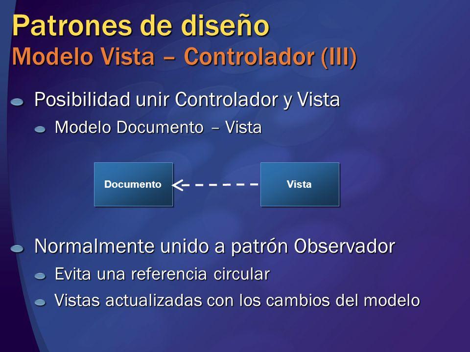 Patrones de diseño Modelo Vista – Controlador (III) Posibilidad unir Controlador y Vista Modelo Documento – Vista Normalmente unido a patrón Observado