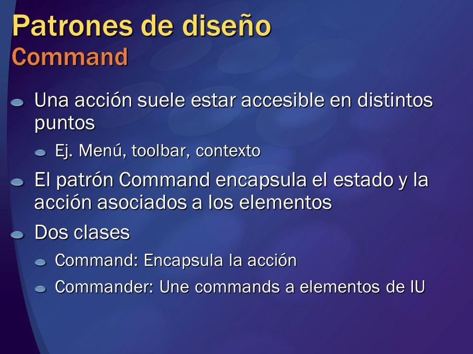 Patrones de diseño Command Una acción suele estar accesible en distintos puntos Ej. Menú, toolbar, contexto El patrón Command encapsula el estado y la