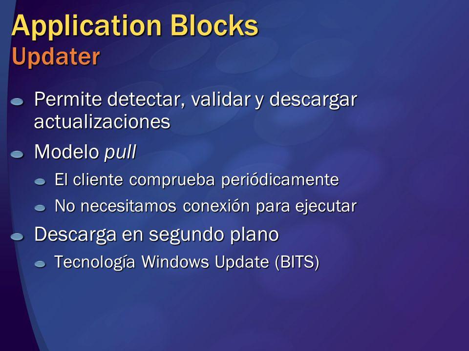 Application Blocks Updater Permite detectar, validar y descargar actualizaciones Modelo pull El cliente comprueba periódicamente No necesitamos conexi