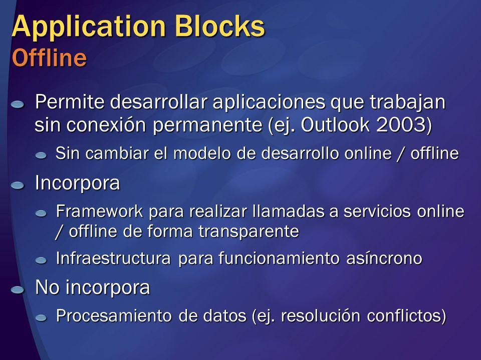 Application Blocks Offline Permite desarrollar aplicaciones que trabajan sin conexión permanente (ej. Outlook 2003) Sin cambiar el modelo de desarroll