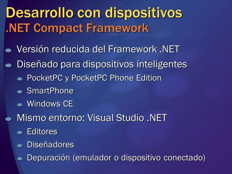 Desarrollo con dispositivos.NET Compact Framework Versión reducida del Framework.NET Diseñado para dispositivos inteligentes PocketPC y PocketPC Phone