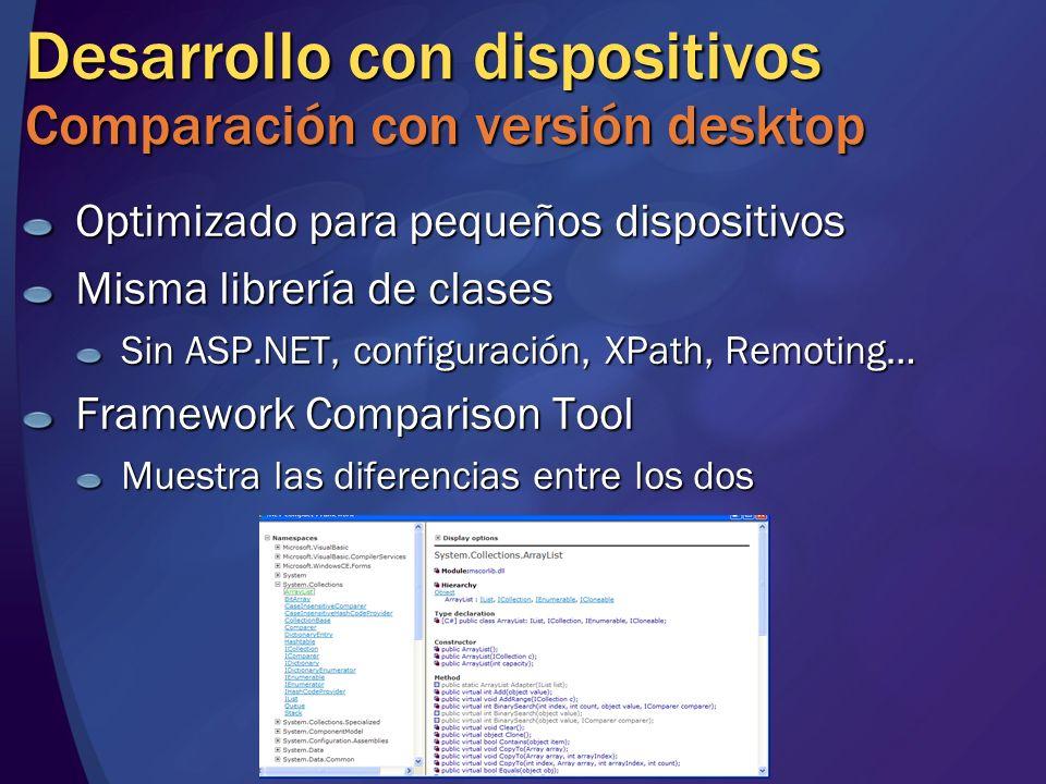 Desarrollo con dispositivos Comparación con versión desktop Optimizado para pequeños dispositivos Misma librería de clases Sin ASP.NET, configuración,