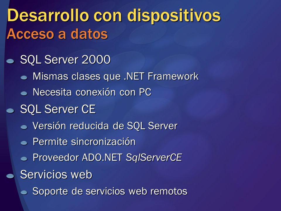 Desarrollo con dispositivos Acceso a datos SQL Server 2000 Mismas clases que.NET Framework Necesita conexión con PC SQL Server CE Versión reducida de