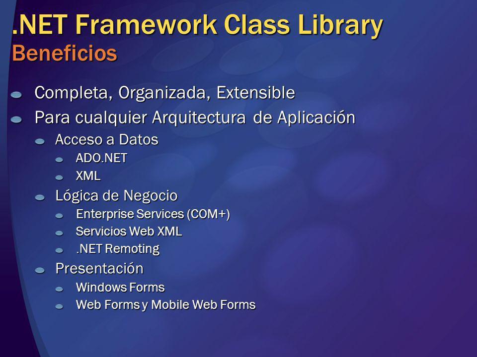 .NET Framework Class Library Beneficios Completa, Organizada, Extensible Para cualquier Arquitectura de Aplicación Acceso a Datos ADO.NETXML Lógica de