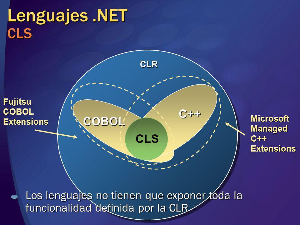 Lenguajes.NET CLS COBOL C++ C++ CLR Microsoft Managed C++ Extensions Fujitsu COBOL Extensions CLS Los lenguajes no tienen que exponer toda la funciona