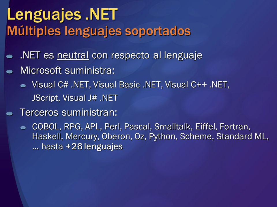 .NET es neutral con respecto al lenguaje Microsoft suministra: Visual C#.NET, Visual Basic.NET, Visual C++.NET, JScript, Visual J#.NET Terceros sumini