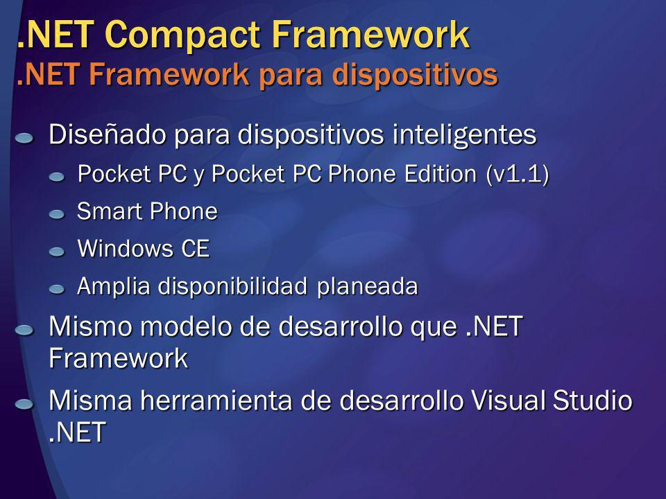 .NET Compact Framework.NET Framework para dispositivos Diseñado para dispositivos inteligentes Pocket PC y Pocket PC Phone Edition (v1.1) Smart Phone