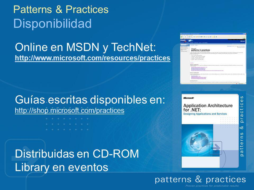 Patterns & Practices Disponibilidad Online en MSDN y TechNet: http://www.microsoft.com/resources/practices Guías escritas disponibles en: http://shop.