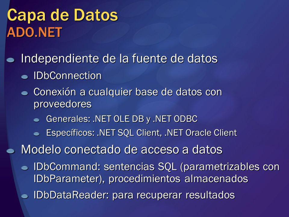 Capa de Datos ADO.NET Independiente de la fuente de datos IDbConnection Conexión a cualquier base de datos con proveedores Generales:.NET OLE DB y.NET