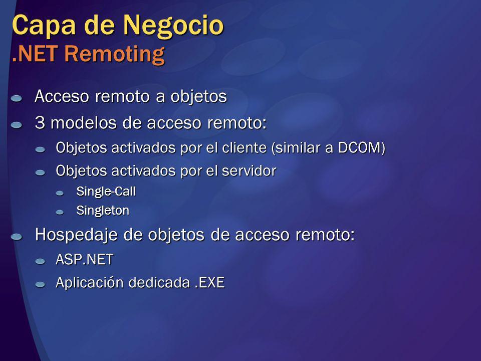 Capa de Negocio.NET Remoting Acceso remoto a objetos 3 modelos de acceso remoto: Objetos activados por el cliente (similar a DCOM) Objetos activados p