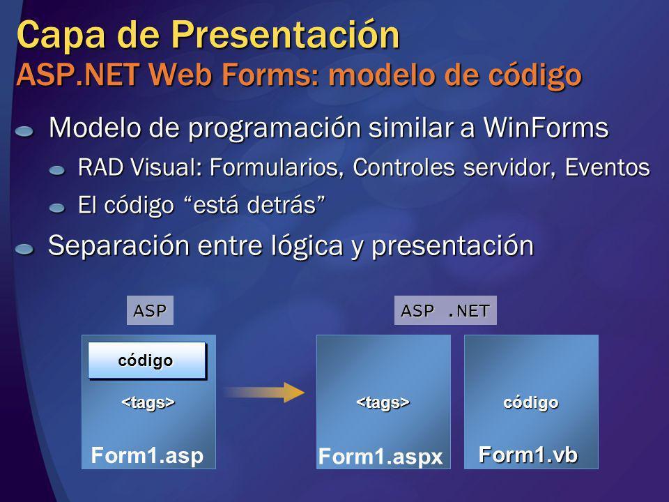 Capa de Presentación ASP.NET Web Forms: modelo de código Modelo de programación similar a WinForms RAD Visual: Formularios, Controles servidor, Evento