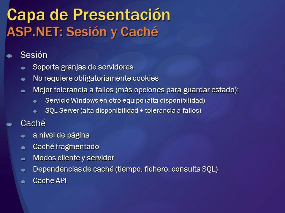 Capa de Presentación ASP.NET: Sesión y Caché Sesión Soporta granjas de servidores No requiere obligatoriamente cookies Mejor tolerancia a fallos (más