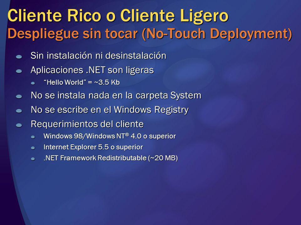 Sin instalación ni desinstalación Aplicaciones.NET son ligeras Hello World = ~3.5 Kb No se instala nada en la carpeta System No se escribe en el Windo