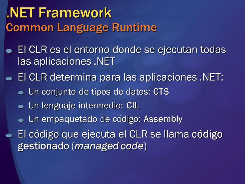 Common Language Runtime Proceso del código gestionado Código Fuente Compilación En instalación o la primera vez que se llama a un método Compilador lenguaje Assembly Ejecución Compilador JIT Código Nativo Código (IL) Metadatos