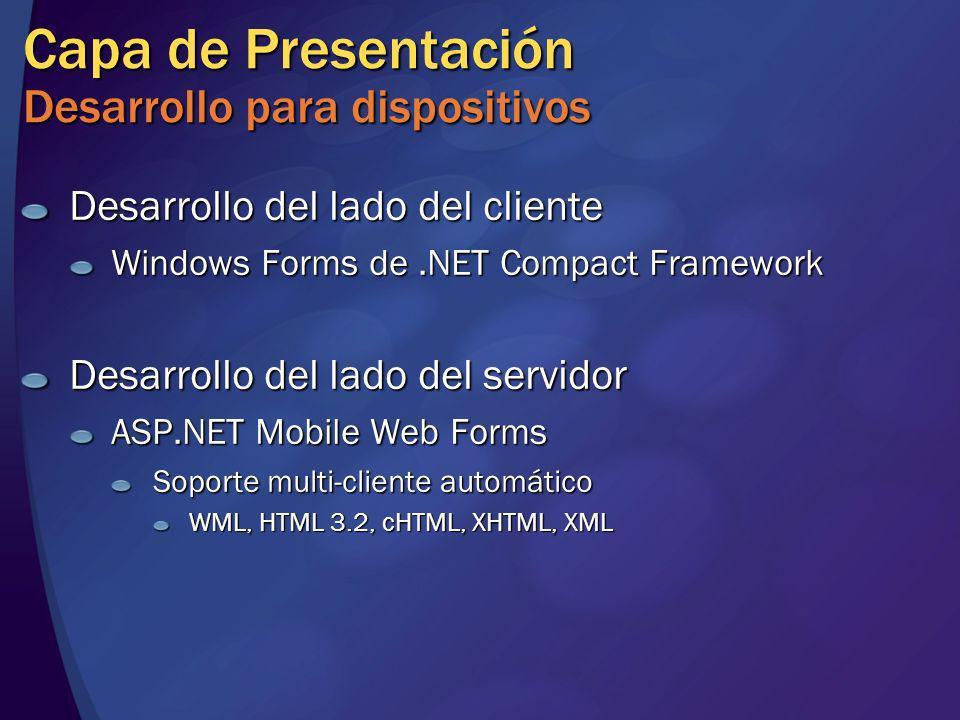 Capa de Presentación Desarrollo para dispositivos Desarrollo del lado del cliente Windows Forms de.NET Compact Framework Desarrollo del lado del servi