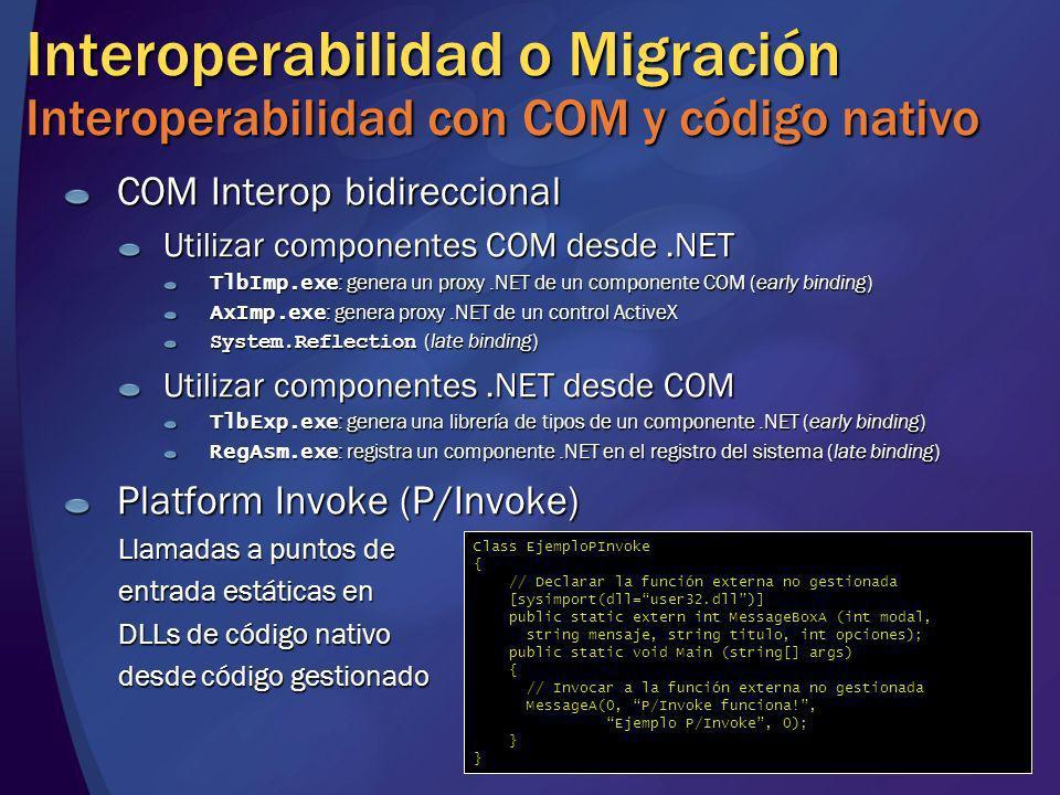 Interoperabilidad o Migración Interoperabilidad con COM y código nativo COM Interop bidireccional Utilizar componentes COM desde.NET TlbImp.exe : gene