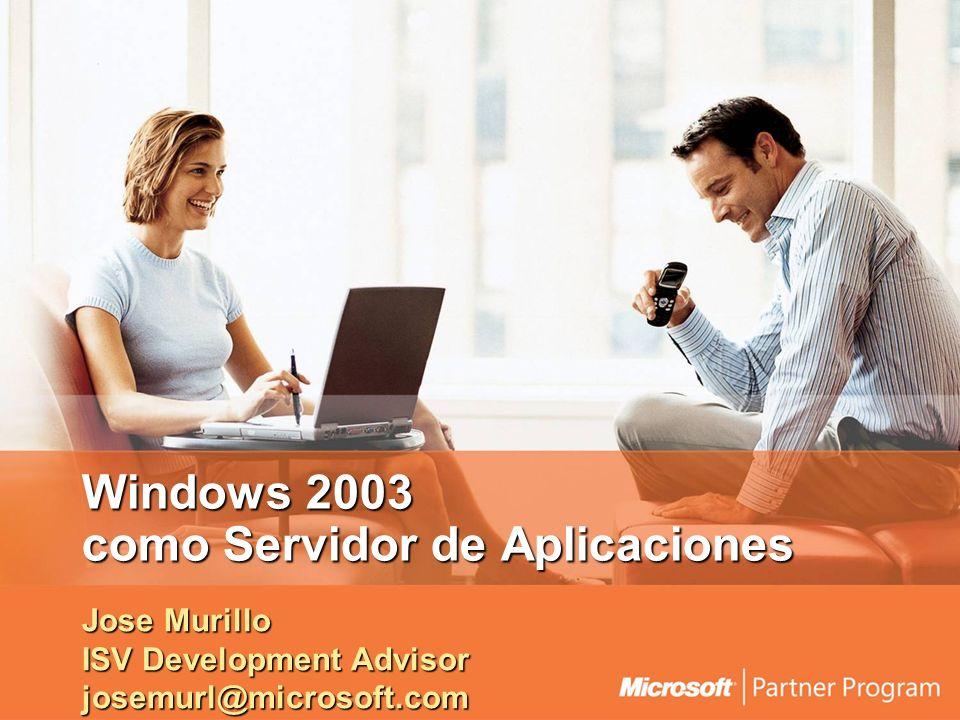 Windows 2003 como Servidor de Aplicaciones Jose Murillo ISV Development Advisor josemurl@microsoft.com
