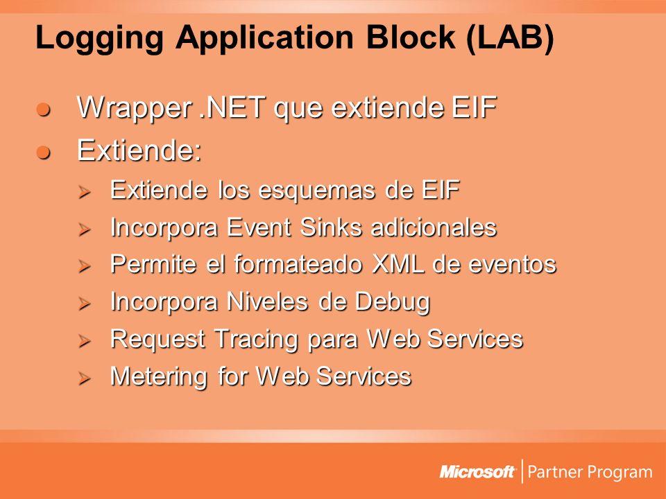 Logging Application Block (LAB) Wrapper.NET que extiende EIF Wrapper.NET que extiende EIF Extiende: Extiende: Extiende los esquemas de EIF Extiende los esquemas de EIF Incorpora Event Sinks adicionales Incorpora Event Sinks adicionales Permite el formateado XML de eventos Permite el formateado XML de eventos Incorpora Niveles de Debug Incorpora Niveles de Debug Request Tracing para Web Services Request Tracing para Web Services Metering for Web Services Metering for Web Services