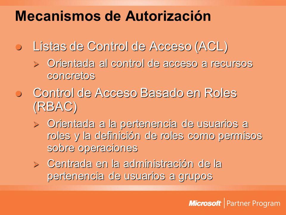 Mecanismos de Autorización Listas de Control de Acceso (ACL) Listas de Control de Acceso (ACL) Orientada al control de acceso a recursos concretos Orientada al control de acceso a recursos concretos Control de Acceso Basado en Roles (RBAC) Control de Acceso Basado en Roles (RBAC) Orientada a la pertenencia de usuarios a roles y la definición de roles como permisos sobre operaciones Orientada a la pertenencia de usuarios a roles y la definición de roles como permisos sobre operaciones Centrada en la administración de la pertenencia de usuarios a grupos Centrada en la administración de la pertenencia de usuarios a grupos