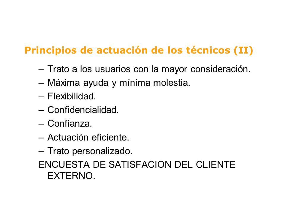 Principios de actuación de los técnicos (II) –Trato a los usuarios con la mayor consideración. –Máxima ayuda y mínima molestia. –Flexibilidad. –Confid