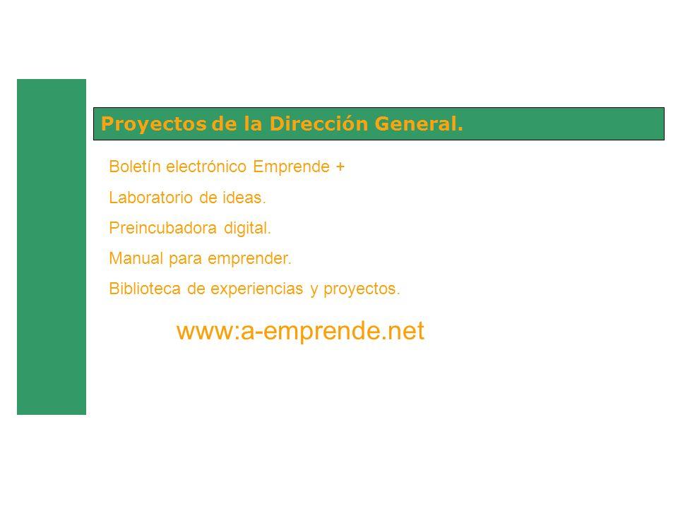 Proyectos de la Dirección General. Boletín electrónico Emprende + Laboratorio de ideas. Preincubadora digital. Manual para emprender. Biblioteca de ex