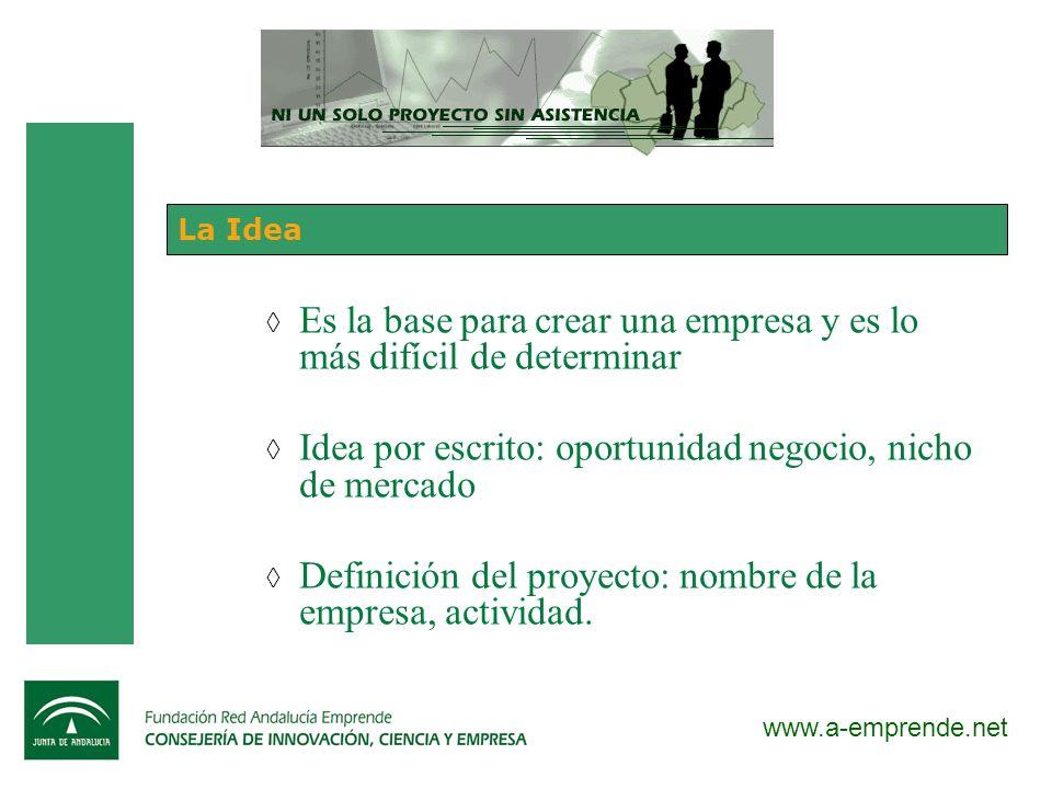 www.a-emprende.net La Idea Es la base para crear una empresa y es lo más difícil de determinar Idea por escrito: oportunidad negocio, nicho de mercado