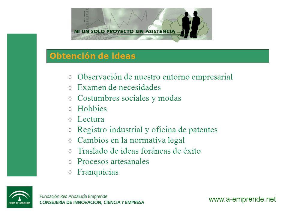 www.a-emprende.net Obtención de ideas Observación de nuestro entorno empresarial Examen de necesidades Costumbres sociales y modas Hobbies Lectura Reg