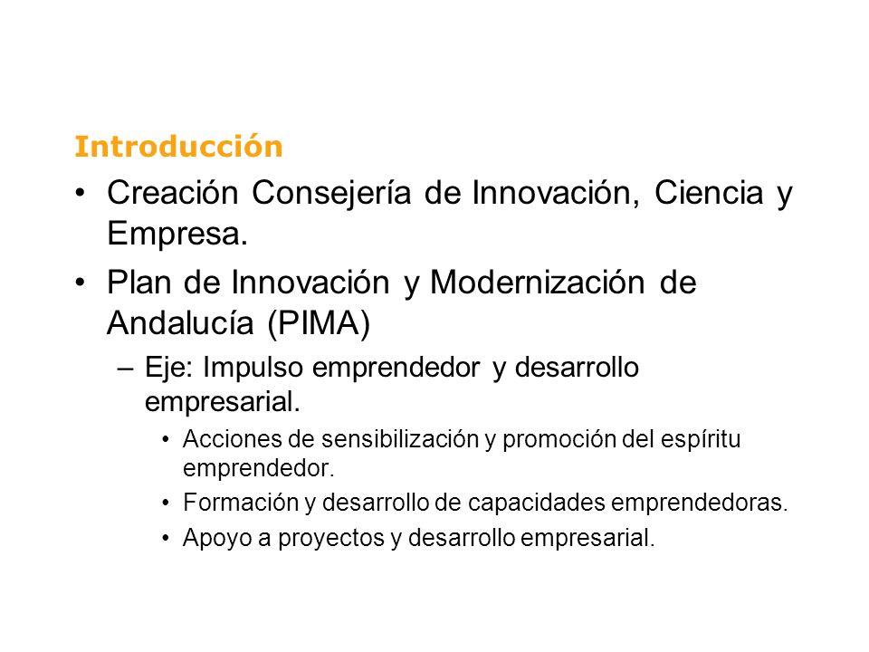 Creación Consejería de Innovación, Ciencia y Empresa. Plan de Innovación y Modernización de Andalucía (PIMA) –Eje: Impulso emprendedor y desarrollo em
