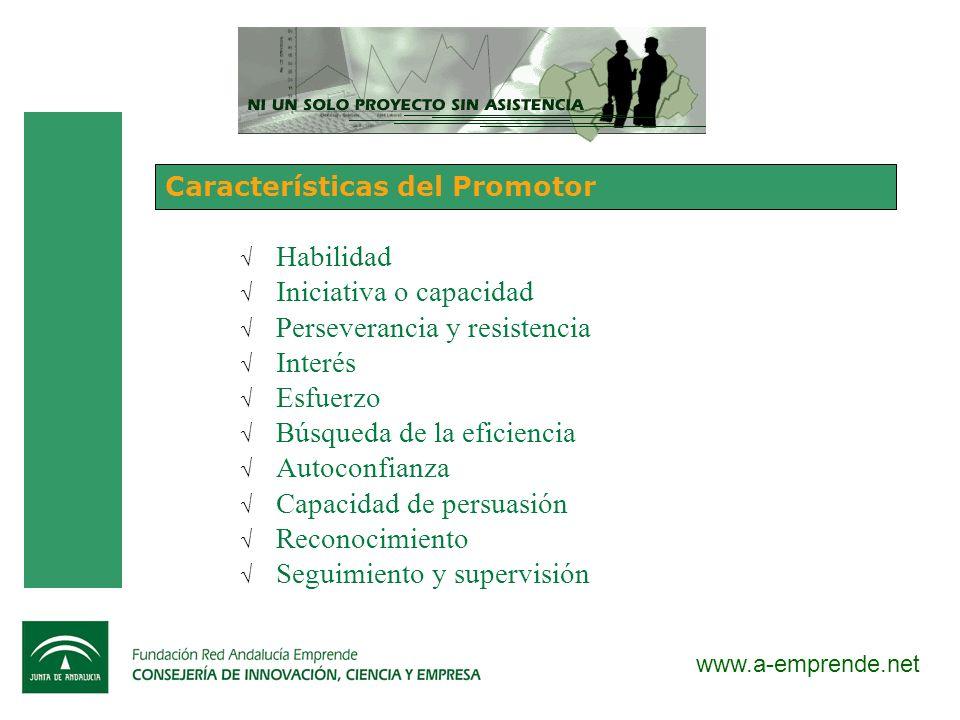 www.a-emprende.net Características del Promotor Habilidad Iniciativa o capacidad Perseverancia y resistencia Interés Esfuerzo Búsqueda de la eficienci