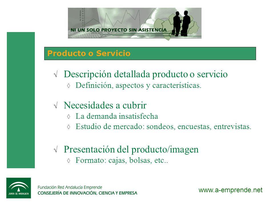 www.a-emprende.net Producto o Servicio Descripción detallada producto o servicio Definición, aspectos y características. Necesidades a cubrir La deman