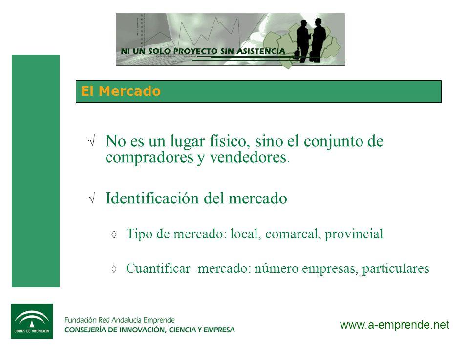 www.a-emprende.net El Mercado No es un lugar físico, sino el conjunto de compradores y vendedores. Identificación del mercado Tipo de mercado: local,